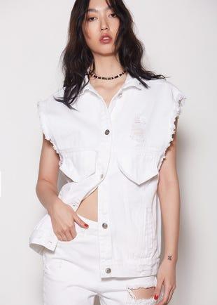 Sleeveless White Denim Top