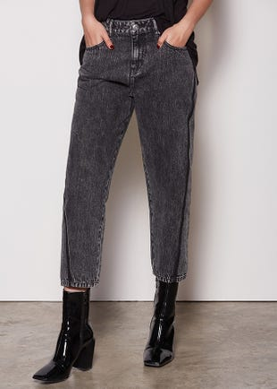 Acid Wash Mom Black Jeans