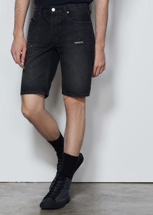 Black Roll Cuff Denim Shorts