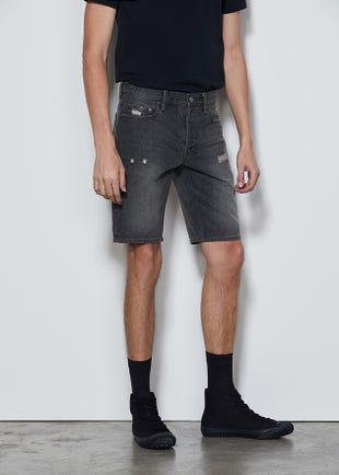 Grey Roll Cuff Denim Shorts