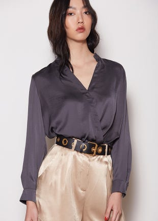 Draped Wrap Top Blouse