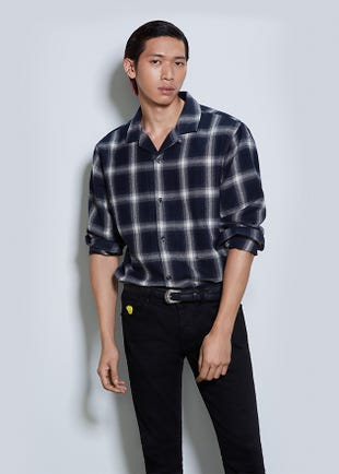 CHECKED SHIRT IN NAVY