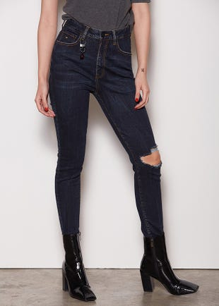 Distressed Cara Navy Jeans