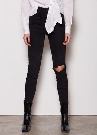Distressed Cara Black Jeans