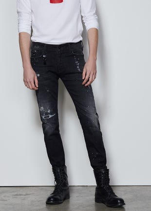 Distressed Black Super Skinny Jeans