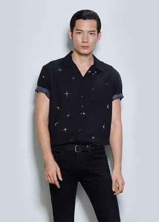 PRINTED HAWAII SHIRT IN BLACK