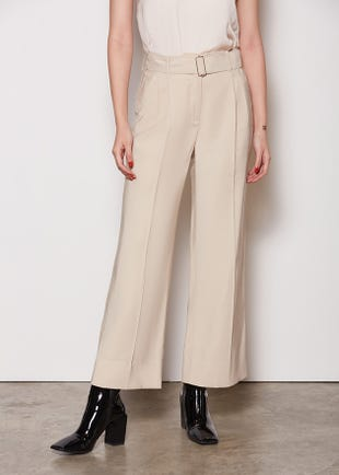 Cropped Pleat Front Trousers