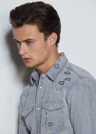 Blue Denim Western Shirt
