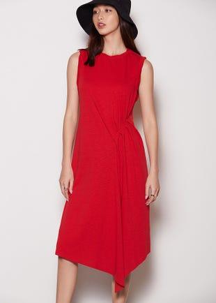Draped Roll Sleeve Dress