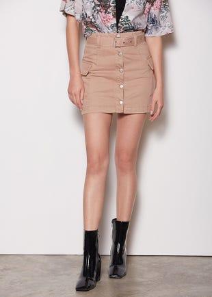 Belted Cargo Mini Skirt