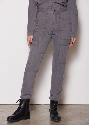 Cropped Grey Cargo Pants