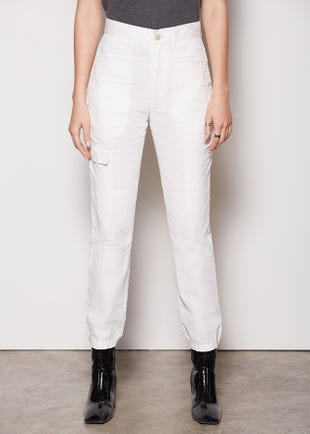 Cropped White Cargo Pants