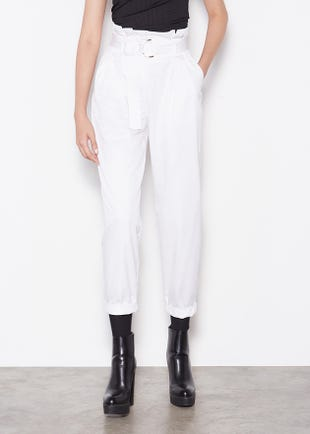 WHITE PAPERBAG WAIST TROUSERS
