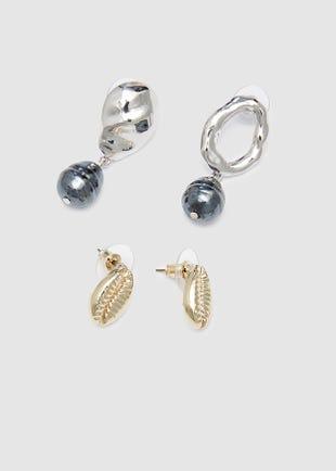 Earring set - Golden shells-multi colour