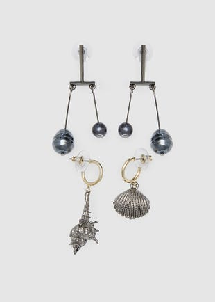 Pearls and shells earring set-black