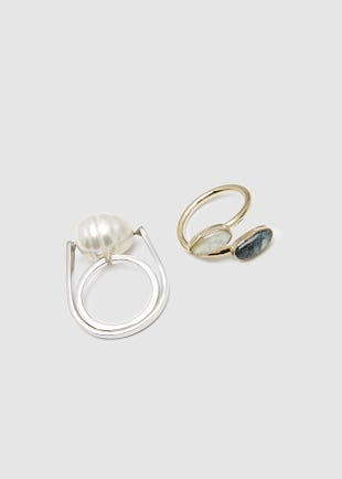 Pearl and Stones Ring set-gold