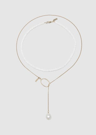 Beads and chain necklace with pearl pendant-gold