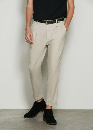 Cropped Cotton Twill Trousers