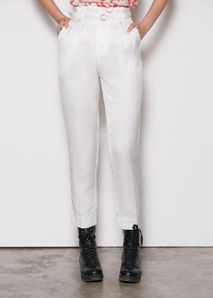 Tapered Trousers with Obi Tie