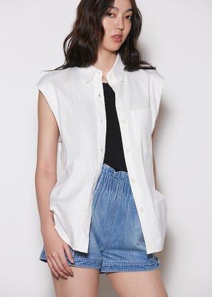 Sleeveless Button Up Shirt