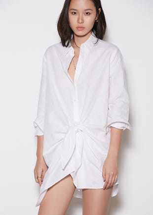 Front Knot Shirt in White