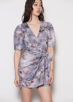 Watercolor Wrap Dress