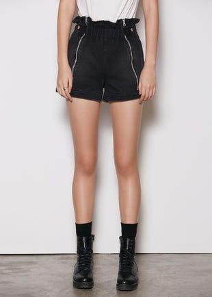 Black Paperbag Denim Shorts