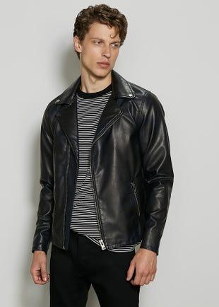 Men Faux Leather Biker Jacket