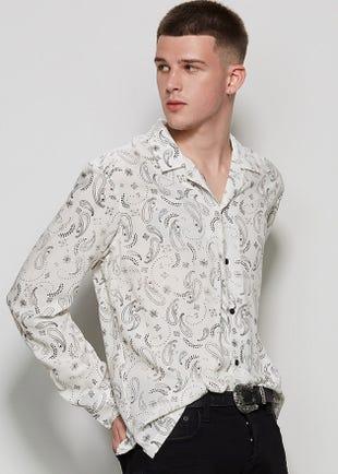 Men Paisley Button Up Shirt