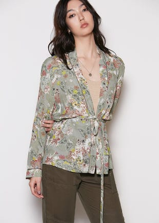 Floral Open Front Top