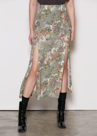 Double Slit Midi Skirt