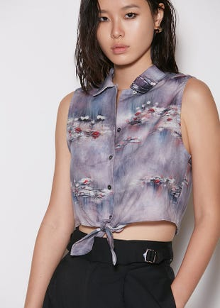 Knotted Watercolor Crop Top
