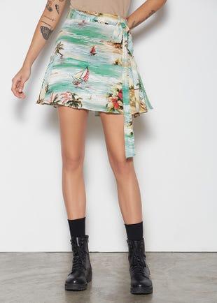 Aloha Tie Waist Skirt