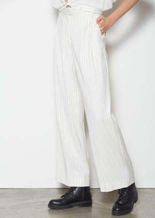 Wide Leg Pinstripe Trousers