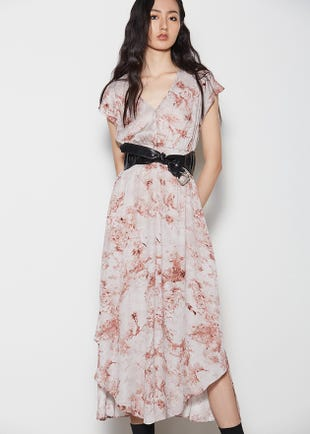 Shirred Waist Midi Dress
