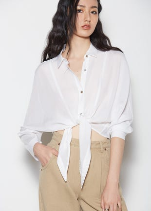 Semi-Sheer Tie Front Blouse