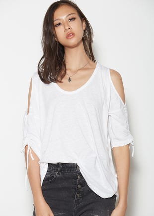 Drawstring Cold Shoulder Tee