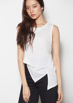 Sleeveless Side Slit Tee