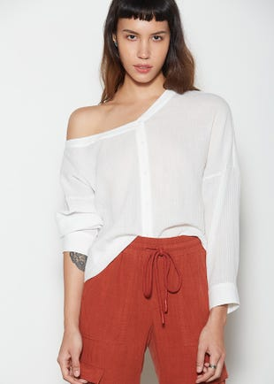 One Shoulder Button Up Top