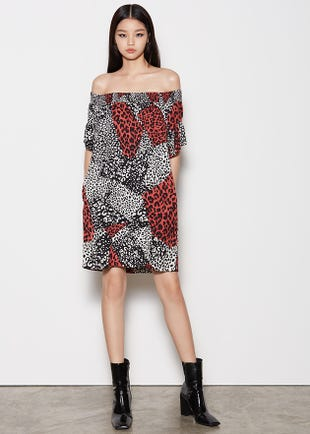 Printed Off Shoulder Mini Dress