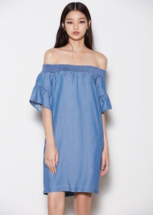 Off Shoulder Mini Dress in Blue