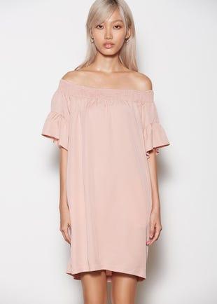 Off Shoulder Mini Dress in Pink