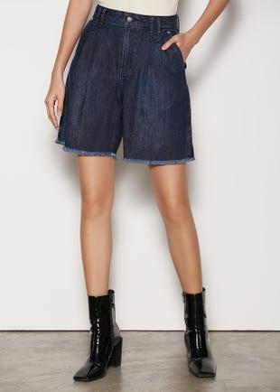 Wide Leg Denim Shorts