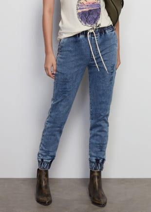 Distressed Drawstring Jeans