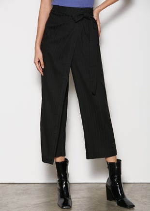 Cropped Wrap Front Trousers