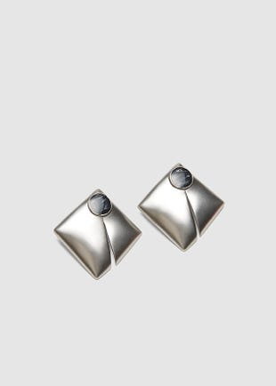 Square Pillow Earrings-silver