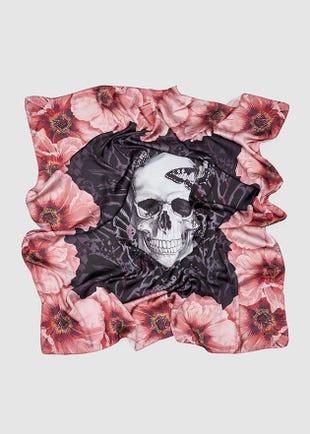 Skulls & Flowers Scarf-red