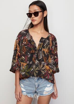 Tropical Puff Sleeve Shirt