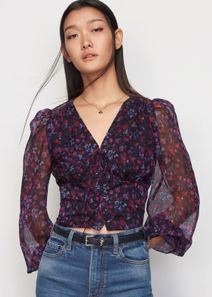 Floral Lace Up Top