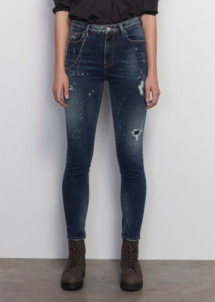 Navy Mid Rise Skinny Jeans